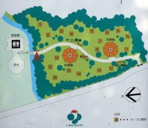 しあわせの村デイキャンプ場現地案内図